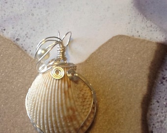 Under the boardwalk silver wire wrapped seashell pendant 23