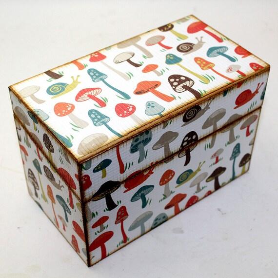 Bridal Shower Recipe Box Retro Mushrooms Fits 4x6 Recipe Cards