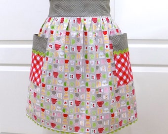 Womens Vintage Style Apron Retro Kitchen Waist Aprons with Pockets