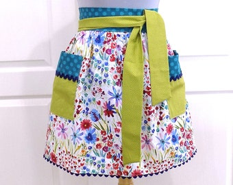 Womens Retro Half Apron Modern Chic Cute Kitchen Waist Aprons with Pockets