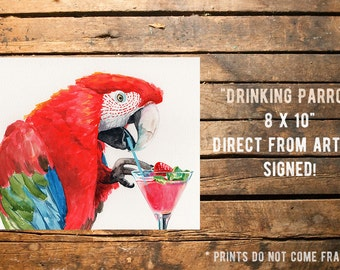 Fine art Print from original watercolor by Redstreake, parrot, cocktail, bar, 2 sizes