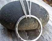 ON SALE Silver Circle Necklace - Hammered Large Circle Argentium Sterling Silver Infinity Modern Jewelry