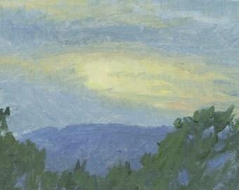 SALE - Golden Sunset: Original Oil Painting Plein Air Landscape