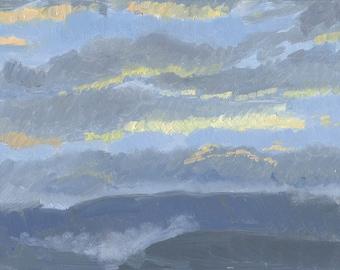 SALE! Sunset with fog: Original Oil Painting Plein Air Landscape