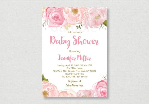 Soft Pink Floral Baby Shower Invitation Floral Baby Shower Invite
