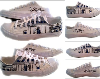 Star Wars R2D2 Converse, Wedding Converse, Sneakers, Custom Shoes, Geek, I Do, I Love You I Know, Shoes Included