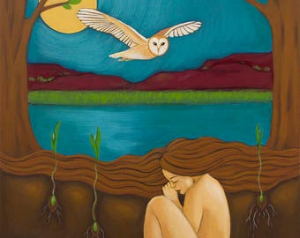 Mexican Proverb - Woman and Owl - Print of Original Acrylic Painting - Feminist Wall Art and Home Decor by Tamara Adams