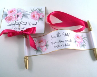 Mini scroll save the dates with watercolor peonies in pink