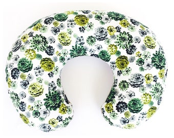 NURSING PILLOW SLIPCOVER / Zipper closure/ Agave  cotton print with soft ivory Flat minky / modern baby nursery gift/ Brand new fabric!