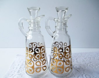 Anchor Hocking Cruet Pair Gold Glass - Mod Vintage