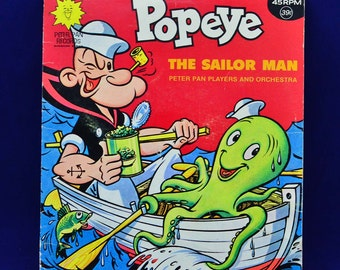 Popeye The Sailor Man - Vintage 45 RPM Peter Pan Record - Sunshine Series #PP1074