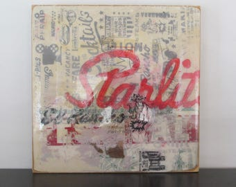 El Rancho Starlite - mixed media screen print on wooden panel, ready to hang