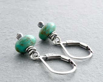 Petite Turquoise Earrings, Turquoise Gemstone Earrings, Turquoise Dangle Earrings, Lever Back, December Birthstone, Sterling Silver #4729
