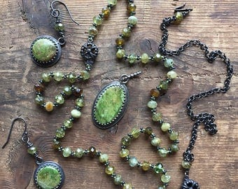 Versatile green garnet knotted necklace with oxydized sterling gaspeite pendant and matching earrings set