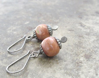 blush pink dangle earrings, kazuri and silver dangle earrings, rustic dangle earrings
