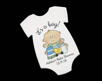 Baby Shower Favor Tags - Baby Boy Tags - Thank You Tag - Personalized - Baby Boy Shower - Baby Shower Tag - Die Cut