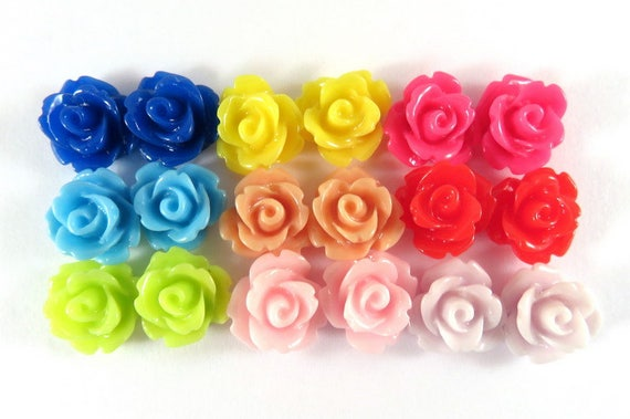 BOGO - 20 Rose Flower Cabochon Beads Resin Bead 10mm Assortment - No Holes - 20 pc - CA2006-AS20 - Buy 1, Get 1 Free - No coupon required