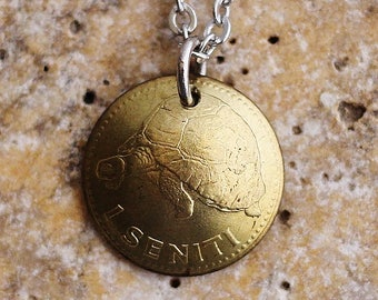 Turtle Necklace Domed Coin Necklace Tortoise Pendant Tonga 1 Seniti Coin 1974 Coin Animal Jewelry by Hendywood