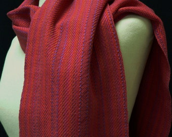 Handwoven Cotton Deep Rose and Variegated Twill Srtipe Scarf