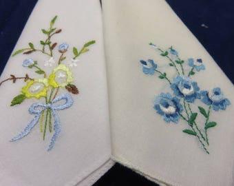 2 Vintage Hankies Blue Flowers Vintage Hanky Handkerchief Vintage Linen