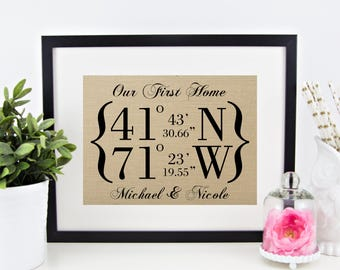 Our First Home Latitude Longitude GPS Coordinates Burlap Print | Personalized Housewarming Gift | New House Home House Warming Location
