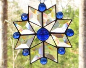 Stained Glass Suncatcher - Star with Iridescent Cobalt Blue Moonface with Cobalt Blue Glass Nuggets