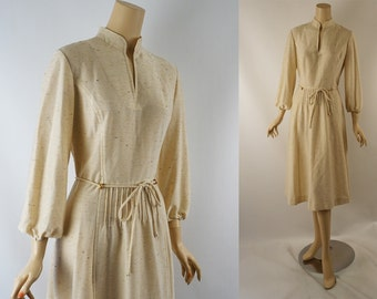 Vintage 1970s Dress Beige Nubby Knit by R&K Sz 14 B38 W32