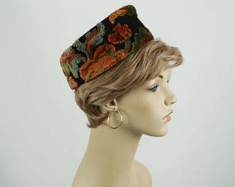 Vintage 1960s Hat Tapestry High Rise Pillbox