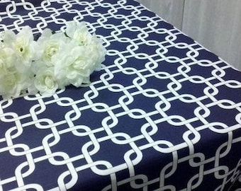 NAVY GEOMETRIC TABLECLOTH, Different Sizes, Geometric, Modern, Chain, Cage  Print,