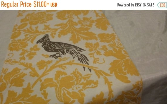 ON SALE TODAY Yellow Damask Bird Linens, Table Runners, or Napkins Or Placemats,  Bird on White Yellow Leaf Flower -Grey/Taupe Wedding Brida