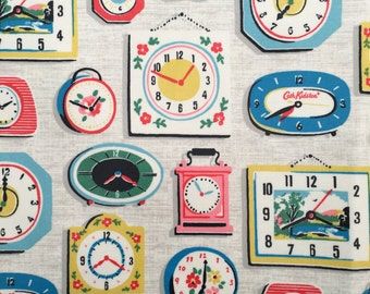 4427 - Cath Kidston Clock (Light Linen) Oilcloth Waterproof Fabric - 28 Inch (Width) x 17 Inch (Length)