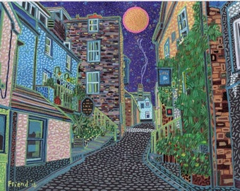"""The Digey (St Ives, Cornwall). 2015 210mm x 297mm 8.3"""" x 11.7"""" (A4) original framed painting"""