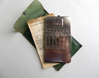 Vintage 1940s TASCO Pocket Arithmometer 8-Column Adder