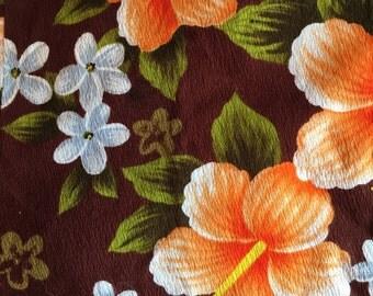 Kona Coffee Brown Vintage Hawaiian Sunset Aloha Maxi Muu Muu  Dress