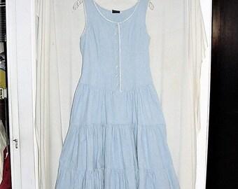 Vintage 90s Blue Cotton Jumper Ladies 7/8 Full Skirt Button Up