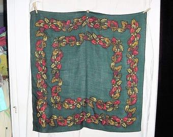 Vintage 80s Forest Green Oak Leaf Acorn Wool Blend Scarf Medium