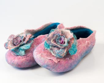 Womens felted wool slippers in turquoise and pink with removable Rose pin brooch Bridsmade gift