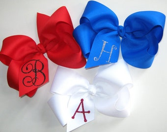 Custom XL Glitter Initial Extra Large 6 inch King Size Grosgrain Personalized Letter Boutique Hair Bow