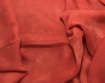 Hand Dyed STRAWBERRY RED Soft Silk Organza Fabric - 1/3 yard remnant