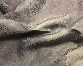 """Hand Dyed Pearl Gray PEBBLES - Silk Jacquard Fabric - 9""""x22"""" remnant"""