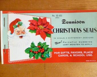 Dennison Christmas Seals ~~ 36 seals ~~ 3 different designs