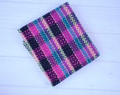 Hand woven kitchen towel, pink and grey