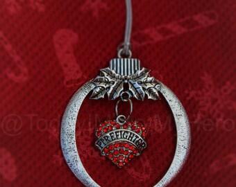 Firefighter Fireman Fire Dept Patriotic Christmas Tree Ornament stocking stuffer Holiday~Heart