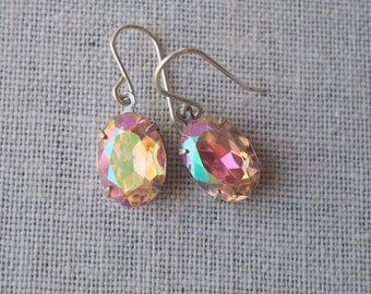 Pink Rhinestone Earrings / Vintage Rhinestone Jewels / Light PInk AB Mirror Finish / Vintage Jewel / Sterling Silver Earwire / Pink Sparkle