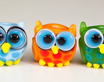 Mini Owl Trio Lampwork Glass Beads  -  blue, orange, green