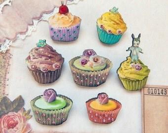Hattie - cupcake brooch - crystal brooch - Cupcake pin - cupcake accessories - cupcake jewelry