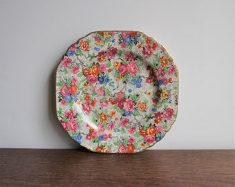 Vintage porcelain chintz plate, made in England, Lord Nelson Ware