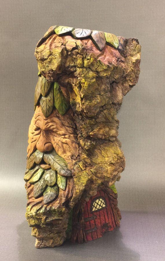 HAND CARVED original standing Green Man/Wood Spirit from 100 year old Cottonwood Bark