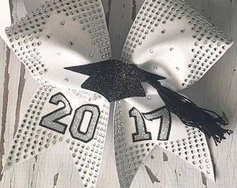2017 Graduation Cap Rhinestoned Cheer Bow