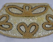 Vintage & Retro Handbags, Purses, Wallets, Bags Vintage Ivory White 1960s Handbag Clutch Bridal Wedding Prom Evening Cocktails  Faux Pearls  Iridescent Sequins  by La Regale Japan $14.00 AT vintagedancer.com